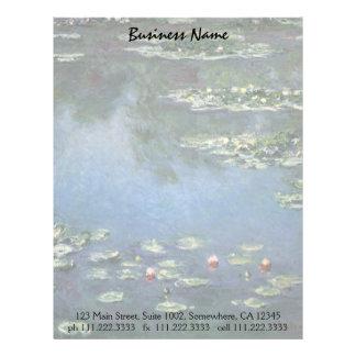 Waterlilies by Claude Monet, Vintage Flowers Letterhead