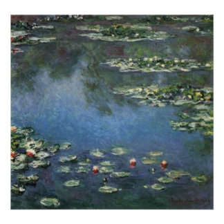 Waterlilies by Claude Monet, Vintage Flowers Poster