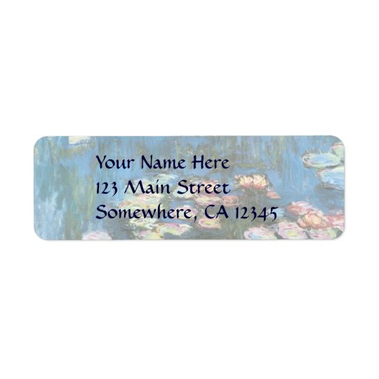 Waterlilies by Claude Monet, Vintage Impressionism Return Address Label