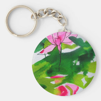 Waterlily abstract watercolour flower art keychain
