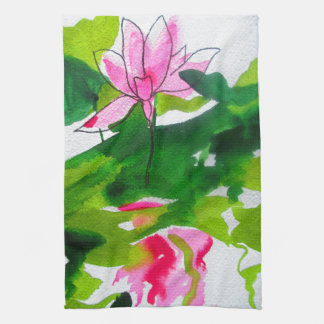 Waterlily abstract watercolour flower art kitchen towel