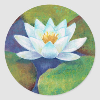 Waterlily Classic Round Sticker