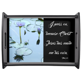 Waterlily Flower Water Garden Bible Serving Tray