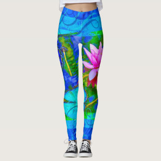 Waterlily Lotus Blossom Blue Yoga Bliss Leggings