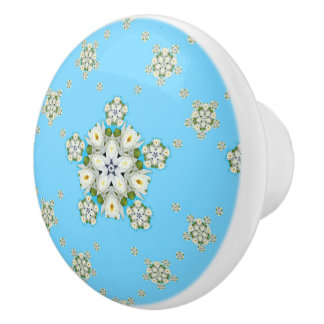 Waterlily Snowflake Pattern Ceramic Knob
