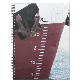 Waterline marked on the ship with scale numbering notebook