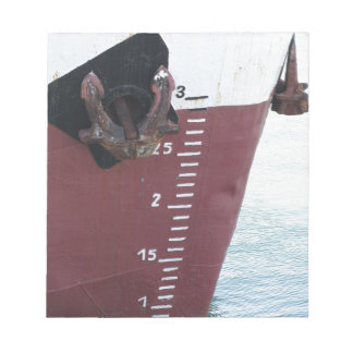 Waterline marked on the ship with scale numbering notepad