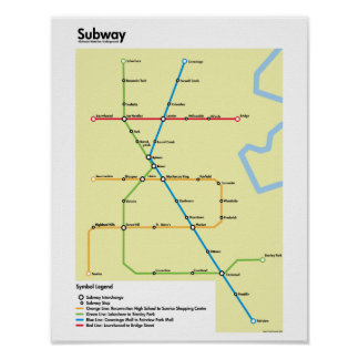 Waterloo Region Subway Map (Fictional) Poster