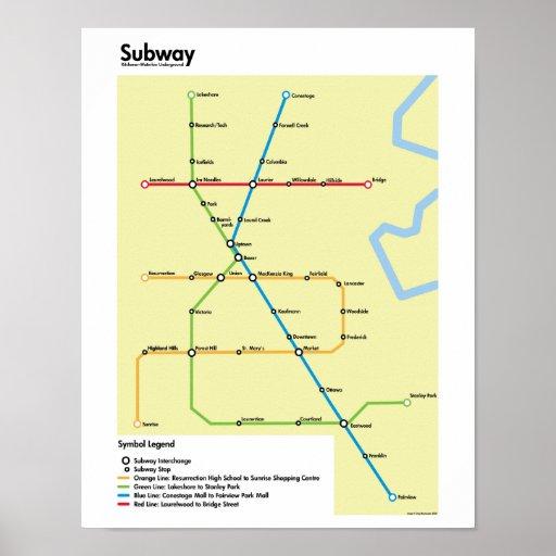 Waterloo Region Subway Map (Fictional) Posters