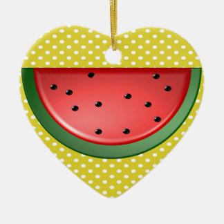 Watermelon and Polks Dots Ceramic Ornament