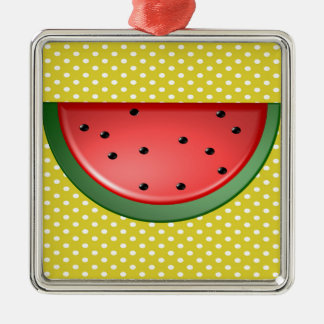 Watermelon and Polks Dots Metal Ornament