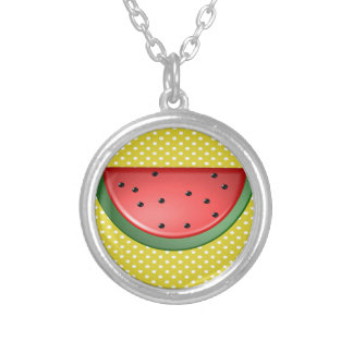 Watermelon and Polks Dots Silver Plated Necklace