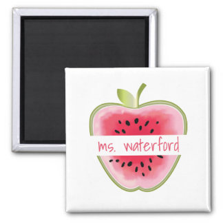 Watermelon Apple Personalized Teacher Square Magnet