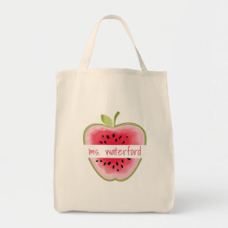 Watermelon Apple Personalized Teacher Tote Bag