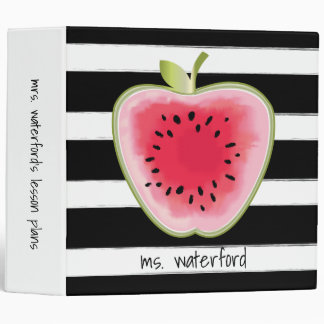 Watermelon Apple Stripes Personalized Teacher 3 Ring Binder