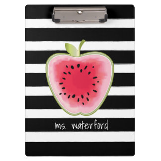 Watermelon Apple Stripes Personalized Teacher Clipboards