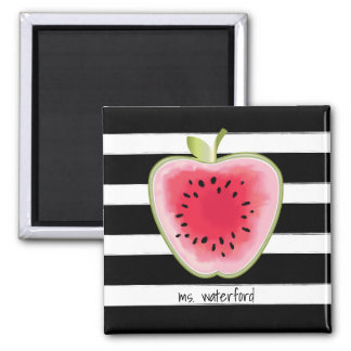 Watermelon Apple Stripes Personalized Teacher Magnet