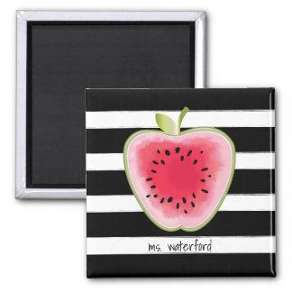 Watermelon Apple Stripes Personalized Teacher Square Magnet