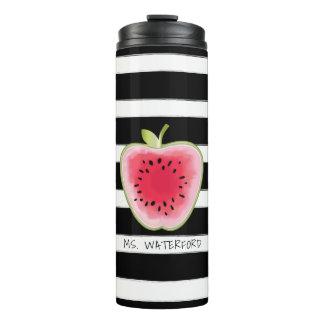 Watermelon Apple Stripes Personalized Teacher Thermal Tumbler