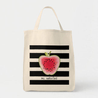 Watermelon Apple Stripes Personalized Teacher Tote Bag