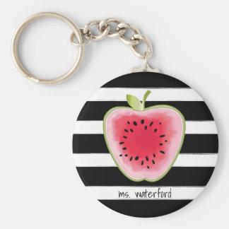 Watermelon Apple StripesTeacher Basic Round Button Keychain