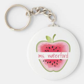 Watermelon Apple Teacher Basic Round Button Keychain