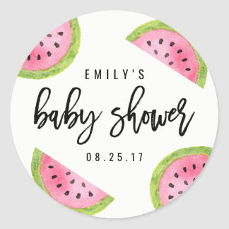 Watermelon Baby Shower Classic Round Sticker