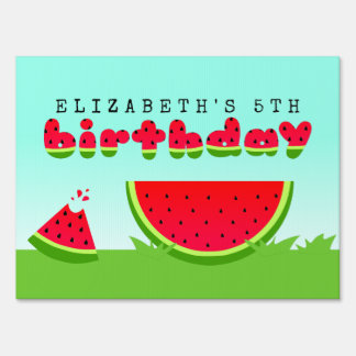 Watermelon Birthday Picnic Party Sign