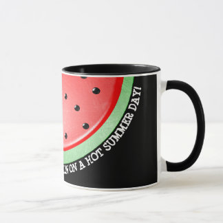 Watermelon Black and Red Handled Coffee Cup