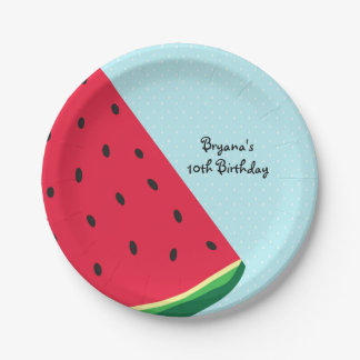 Watermelon Blue Fun Summertime Birthday Party Paper Plate