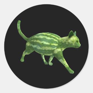 Watermelon Cat Round Sticker