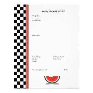 Watermelon Checkered Custom Recipe Page (unlined)