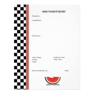 Watermelon Checkered Custom Recipe Page (unlined) Customized Letterhead