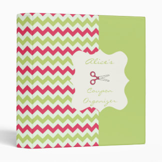 Watermelon Chevron Personalized Coupon Organizer 3 Ring Binder