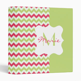 Watermelon Chevron Personalized Monogram Binder