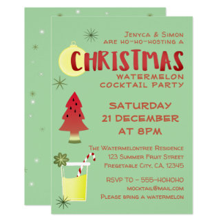 Watermelon Christmas Cocktail Party Invitation