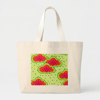 Watermelon Clouds Design Large Tote Bag