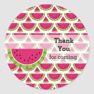 Watermelon color classic round sticker