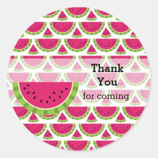 Watermelon color round sticker