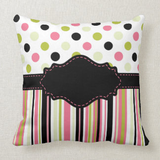 Watermelon Dots and Stripes Personalized Pillow