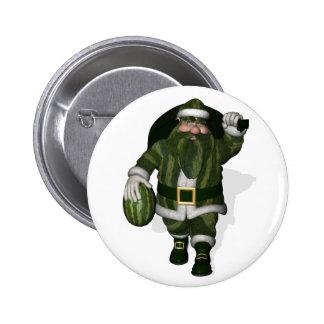 Watermelon Farmer Santa Claus 2 Inch Round Button