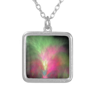 Watermelon fractal silver plated necklace
