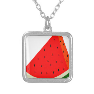 Watermelon Fruit harvest slice summer Silver Plated Necklace