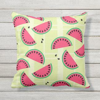 Watermelon, Fruit, Summer, Picnic, Melon, Yellow Throw Pillow