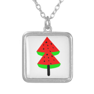 watermelon fruit tree silver plated necklace