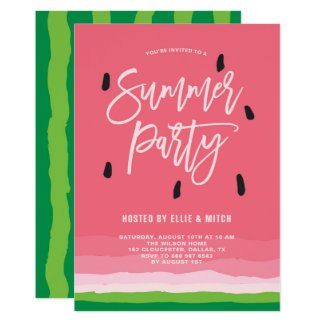 Watermelon Gradient Modern Summer Party Card