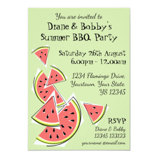 Watermelon Green invitation patterned back