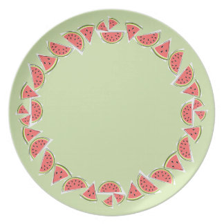 Watermelon Green Pieces Border melamine plate