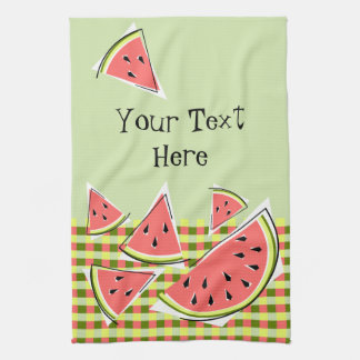 Watermelon Green Pieces Check Text kitchen towel
