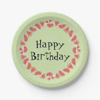 Watermelon Green Pieces Circle Happy Birthday Paper Plate